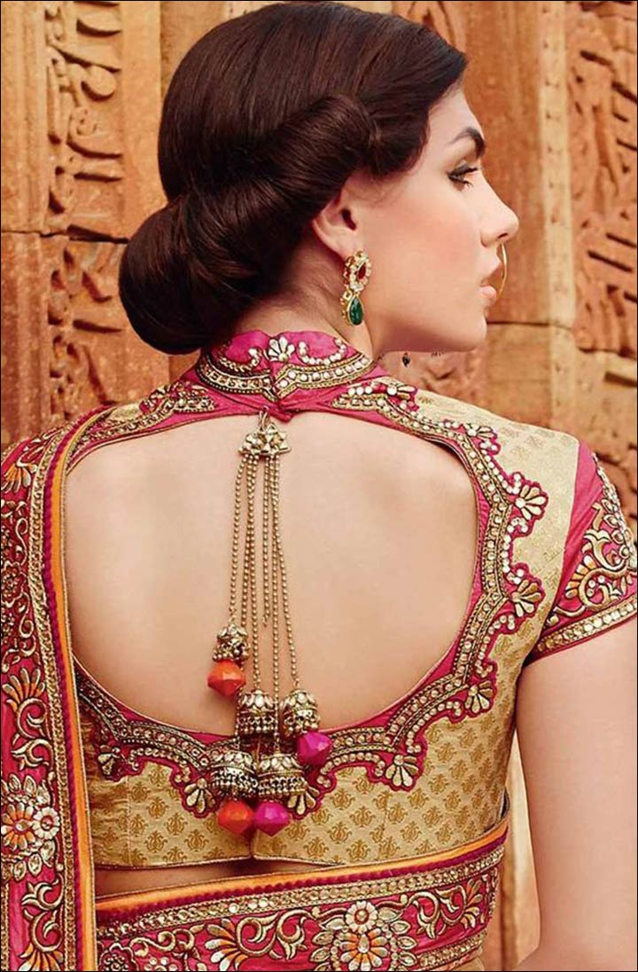 Blouse designs saree blouse back designs blouses neck designs 30 jpg - Cutting Zardosi Work Tassels Blouse With Stylish Back Neck Design