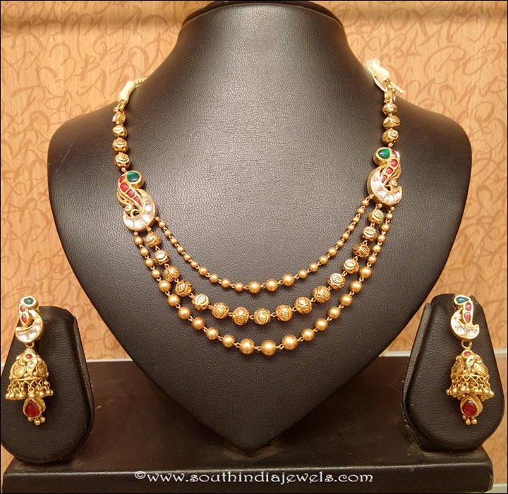 South Indian Bridal Jewellery Sets - Three Layered Long Chain Necklace Set