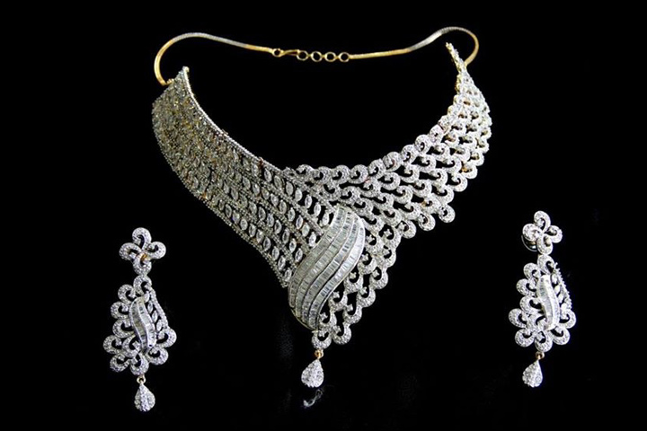 Wedding Necklace Designs - American Diamond Stone Necklace