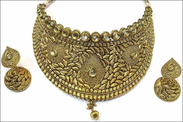 Wedding Necklace Designs - Antique Gold Kundan Bridal Necklace