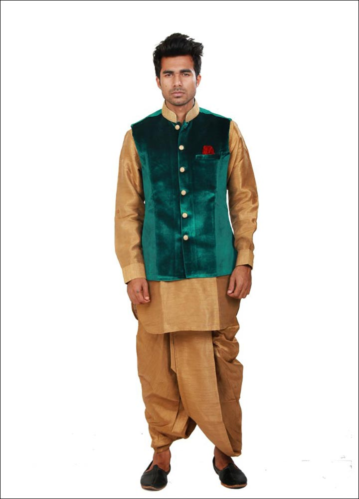 Indian Groom Dress Options - Beige Dhoti Kurta With Green Jacket