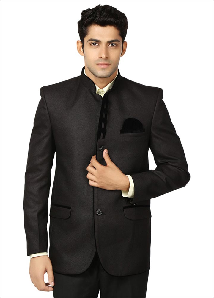 Indian Groom Dress Options - Black Rayon Wedding Blazer
