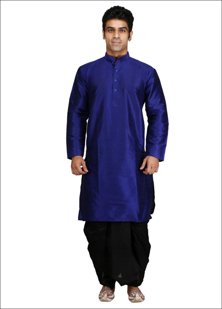Indian Groom Dress Options - Blue Kurta With Black Dhoti