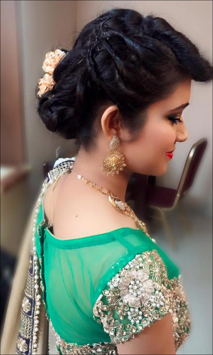 Bridal Hairstyles - Faux Uppercut With Bun And Fancy Hair Brooch