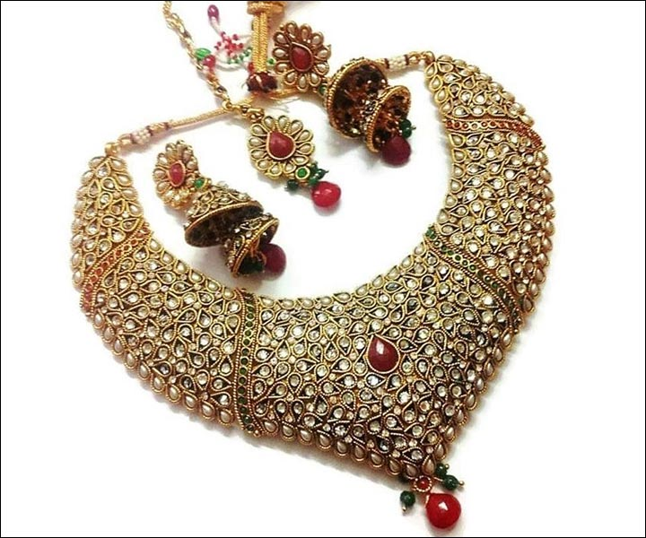buy designers designs marriage necklace in red set stone work rows green bridal adiva of kundan zoom