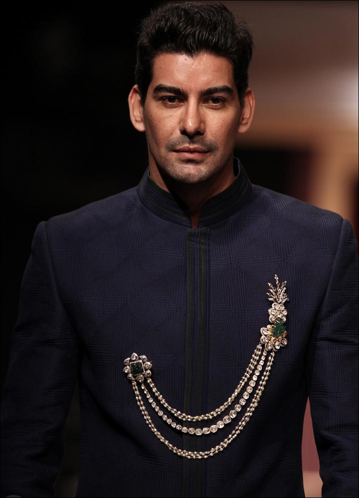 Indian Groom Dress Options - Button-less Sherwani With Brooch