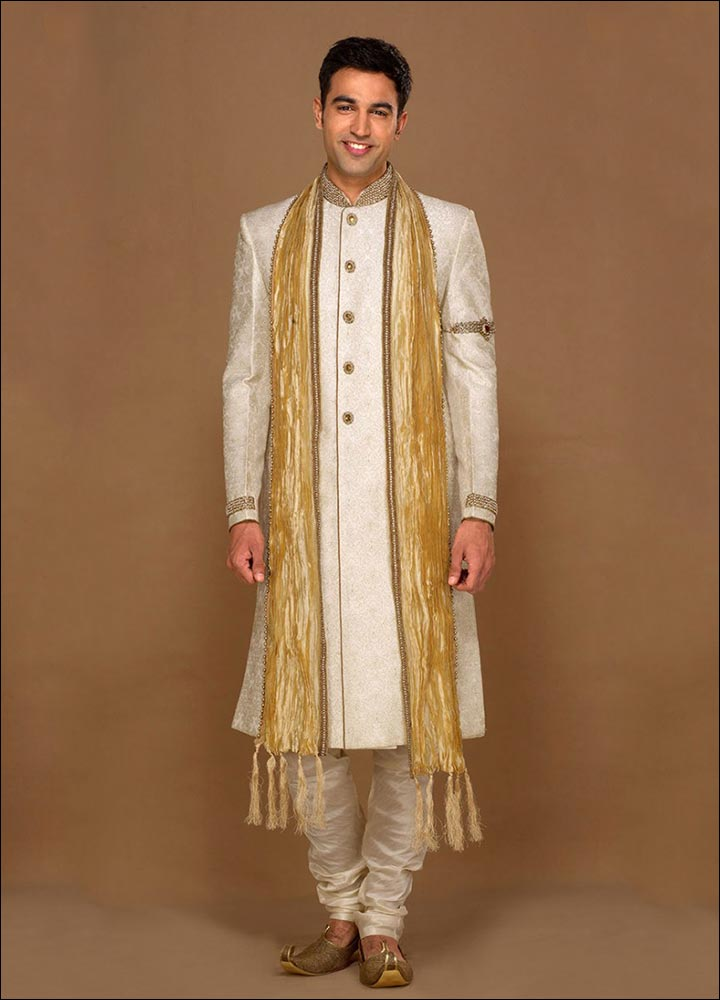 Indian Groom Dress Options - Cream Coloured Kurta With Full Sleeve Jacket