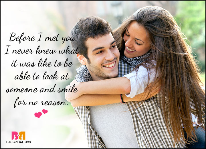Cute Love Quotes For Him - We Smile For No Reason