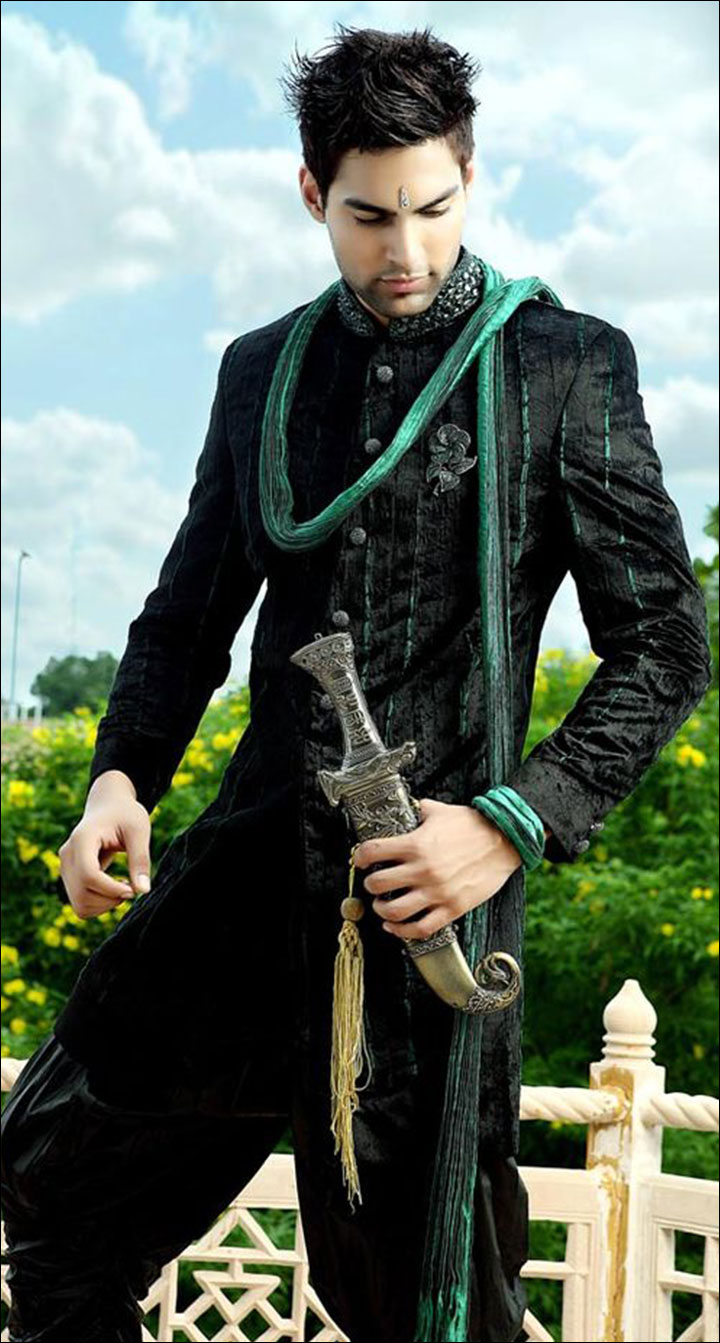 Indian Groom Dress Options - Dark Sherwani With Green Dupatta