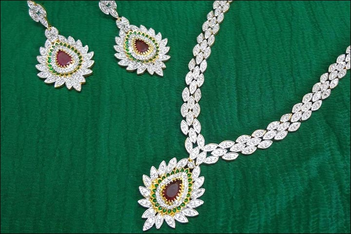 Wedding Necklace Designs - Droplet Motif Bridal American Diamond Set