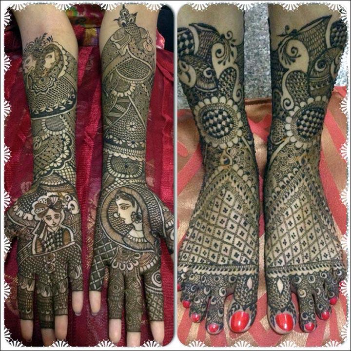 Indian Mehndi Designs - Dulha Dulhan Geometrically Asymmetric Funk