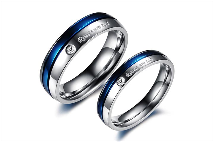Engagement Rings For Couples - Engraved Engagement Rings In Titanium