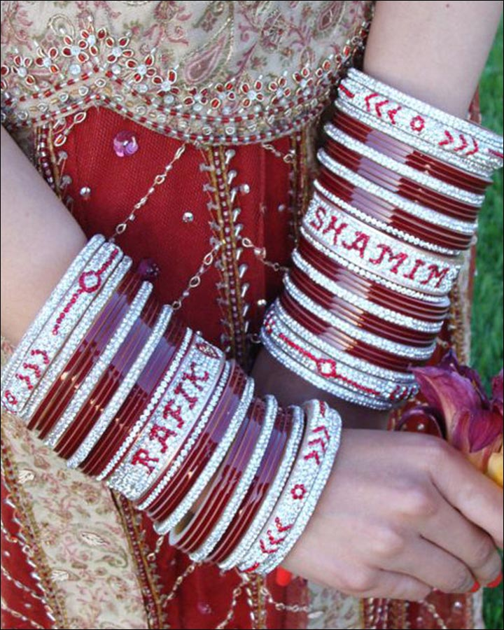 Bridal Bangles - Fancy Chura With Names And Added Glittery Bangles