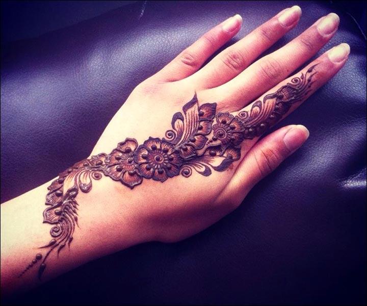 Single Line Mehndi Designs - Fantastic Floral Design