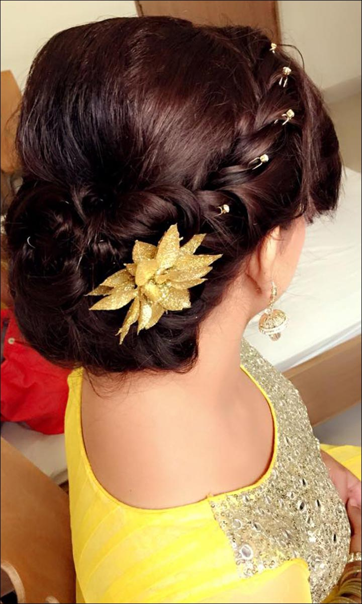 Bridal Hairstyles - Chignon With A Well-Embellished Front Braid And A Singular Flower