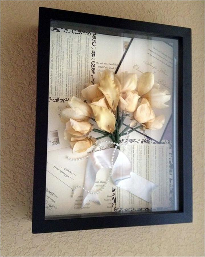 Wedding Gifts For Friends - Framed Wedding Invitation And Wedding Flowers