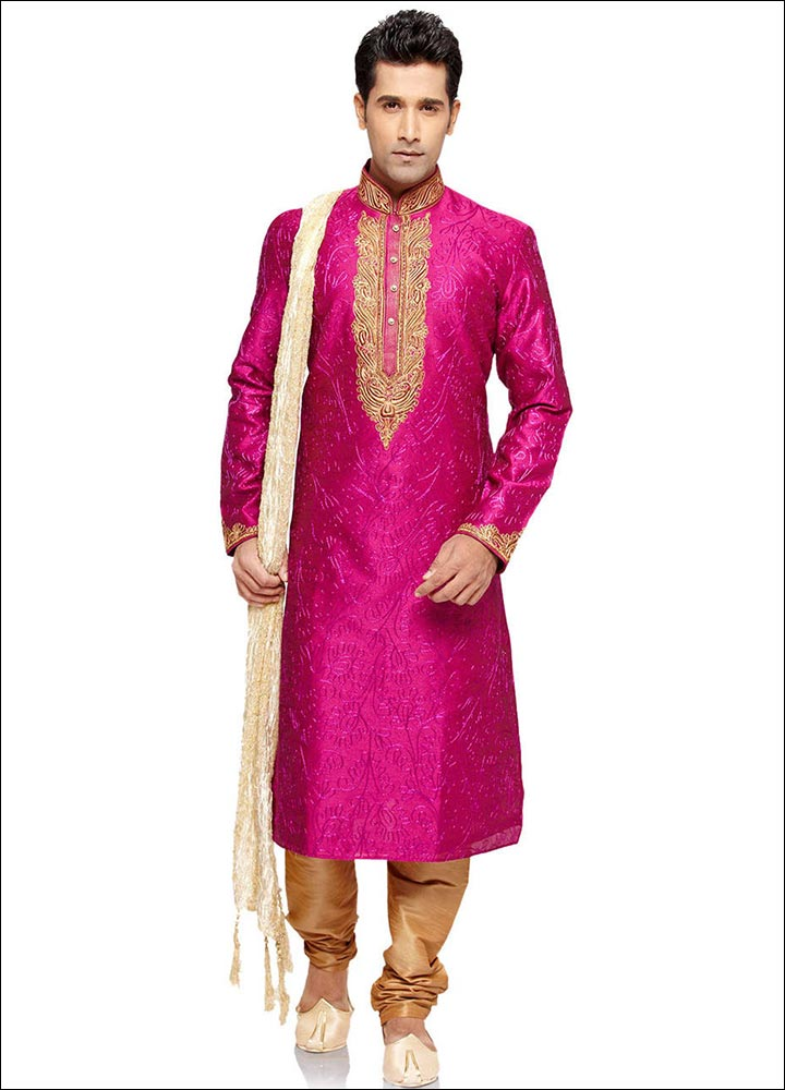 Indian Groom Dress Options - Fuchsia Art Silk Kurta