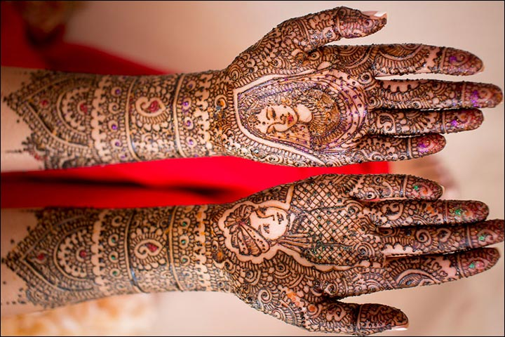 Rajasthani Bridal Mehndi Designs For Full Hands - Glitter Dulha Dulhan Design