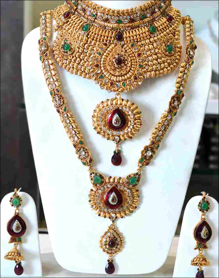 Wedding Necklace Designs - Gold Full Bridal Choker Set