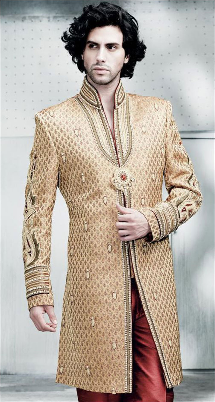 Indian Groom Dress Options - Golden Brooch Highlight Sherwani