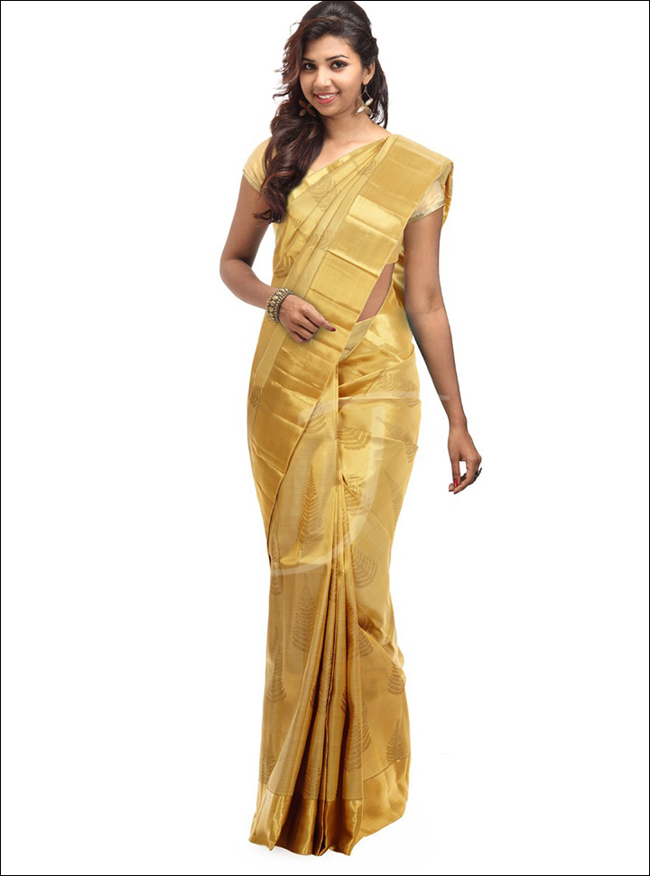 South Indian Wedding Sarees - Golden Silk Saree With Brocade