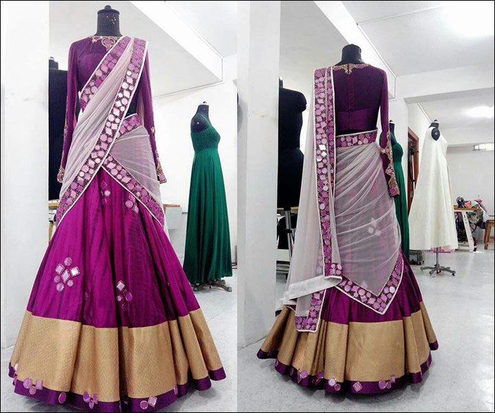 Gorgeous Purple Half Saree With Mirror Work On The Border