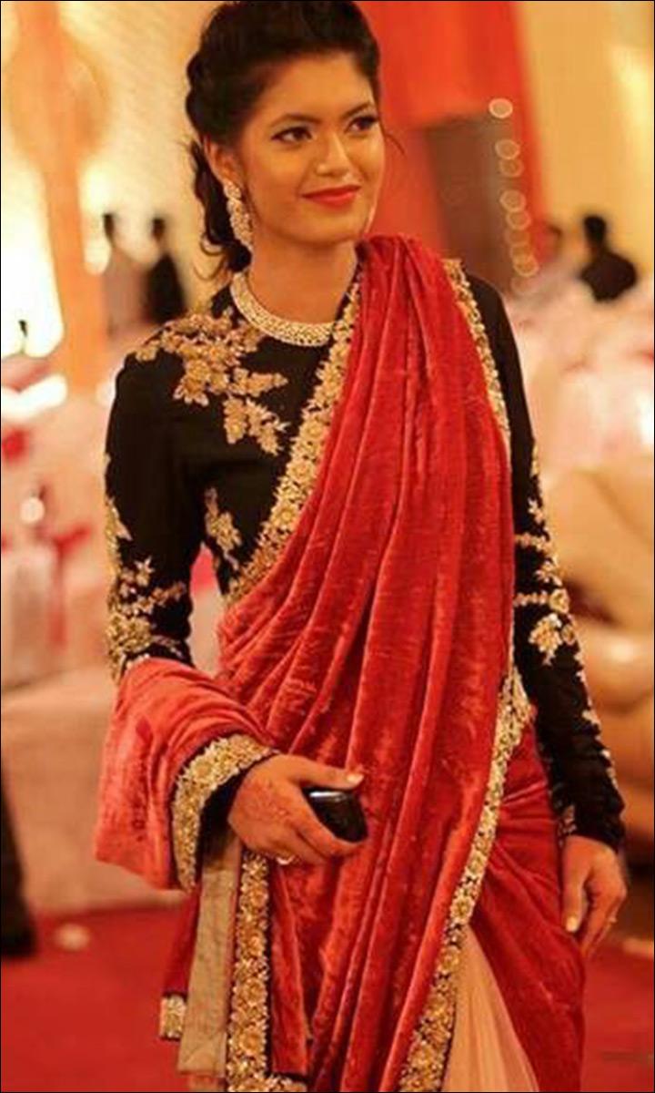 Gorgeous Sabyasachi Black, Cream And Red Half Saree