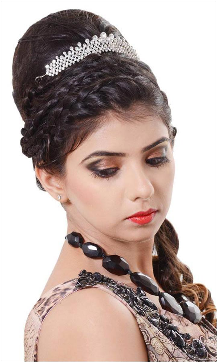 Bridal Hairstyles - Greek Front Braids With Bouffant Raised Bun and Tail Curls (With Tiara)
