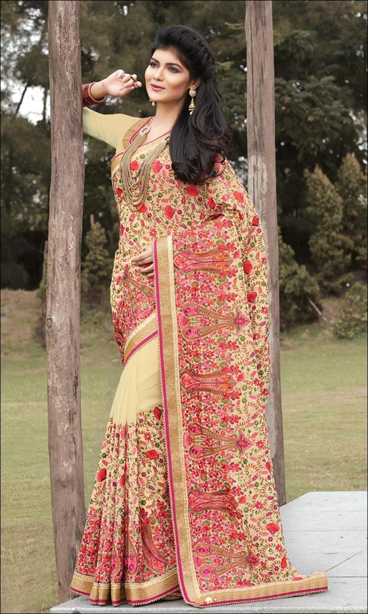 RMKV Bridal Sarees - Heavy Embroidered Off-Cream Saree