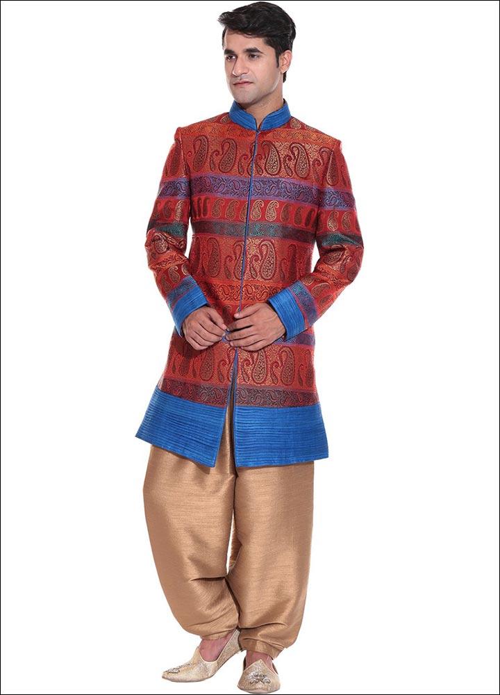 Indian Groom Dress Options - Kimkhab Pattern Sherwani