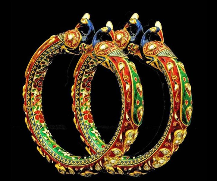 Bridal Bangles - Kundan And Meena Bridal Bangles