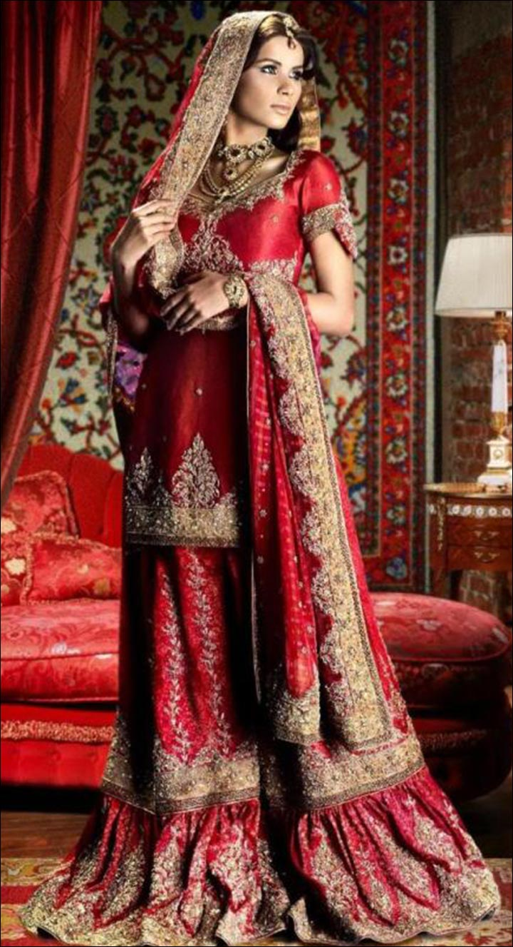 Indian Wedding Dresses - Long Kurti With Sharara