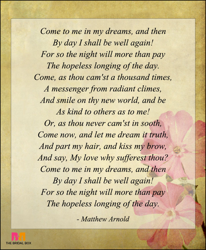 Love Poems By Famous Poets - Matthew Arnold
