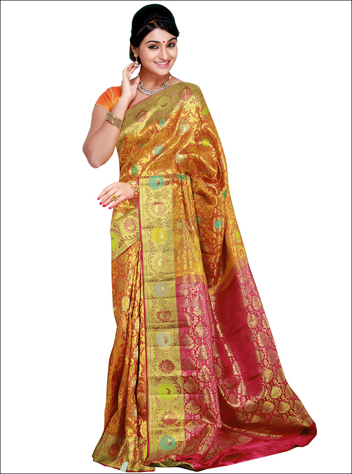 d6c2cb0e622d3 South Indian Wedding Sarees - Maroon And Gold Silk Saree
