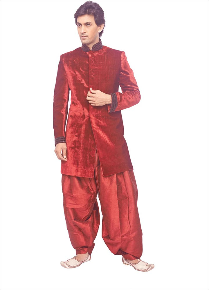 Indian Groom Dress Options - Maroon Velvet Sherwani