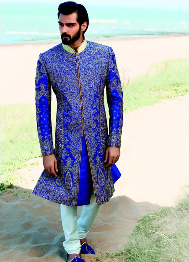 Indian Groom Dress Options - Metallic Blue Embroidered Sherwani