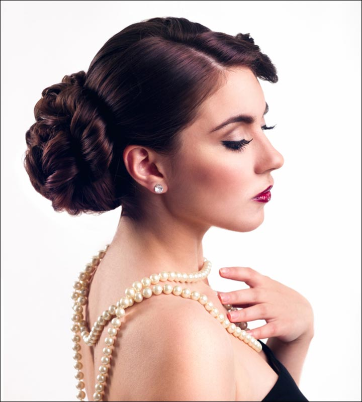 Bridal Hairstyles - Mid Set Bun With Side Sweep