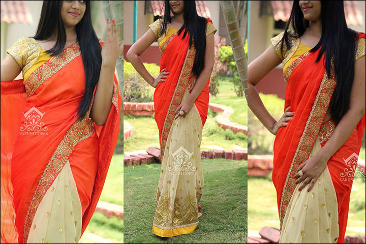 South Indian Wedding Sarees Orange Beige Fusion Saree