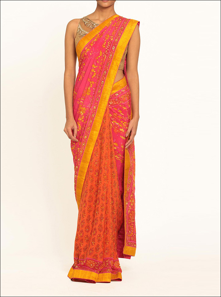 South Indian Wedding Sarees - Orange Silk Printed Saree