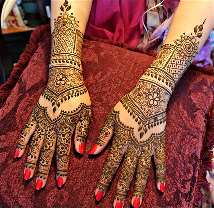 Rajasthani Bridal Mehndi Designs For Full Hands Ornamental Design