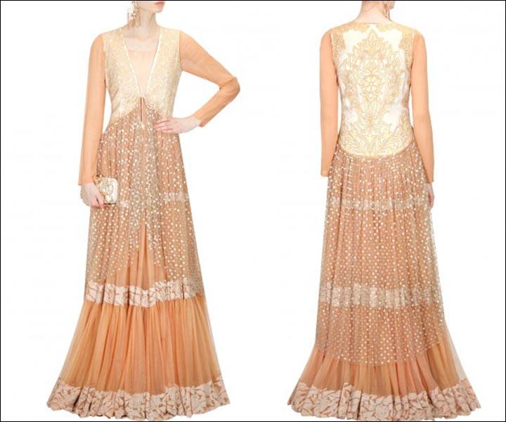 Bridal Suits - A Peach Layered Kurta Set