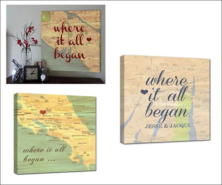 Wedding Gifts For Friends - Personalized Map For The Couple