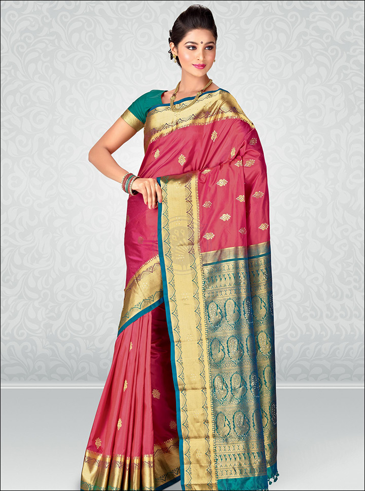 South Indian Wedding Sarees - Pink And Blue Brocade Saree