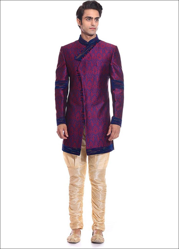 Indian Groom Dress Options - Pink And Blue Silk Brocade Sherwani