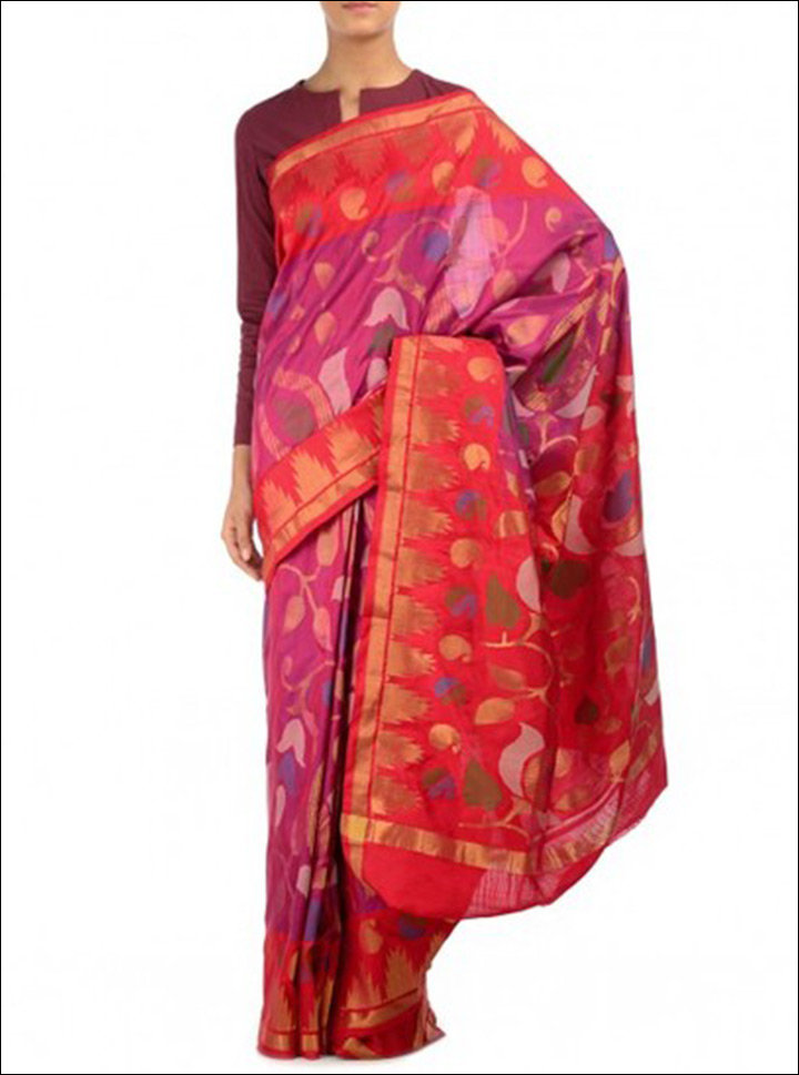 South Indian Wedding Sarees - Pink And Red Handwoven Saree