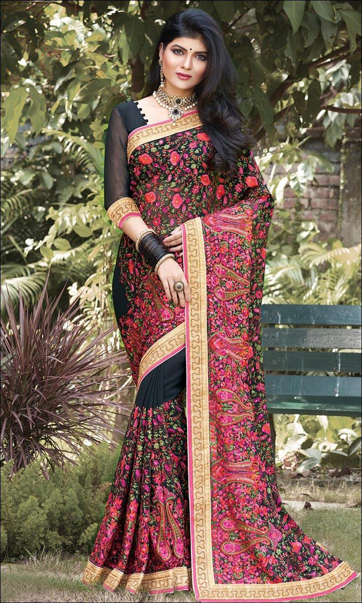 RMKV Bridal Sarees - Pink, Black And Gold
