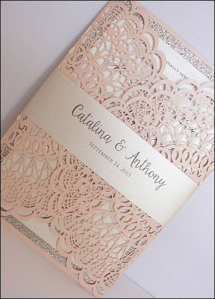 Laser Cut Wedding Invitations - Pink Perfection