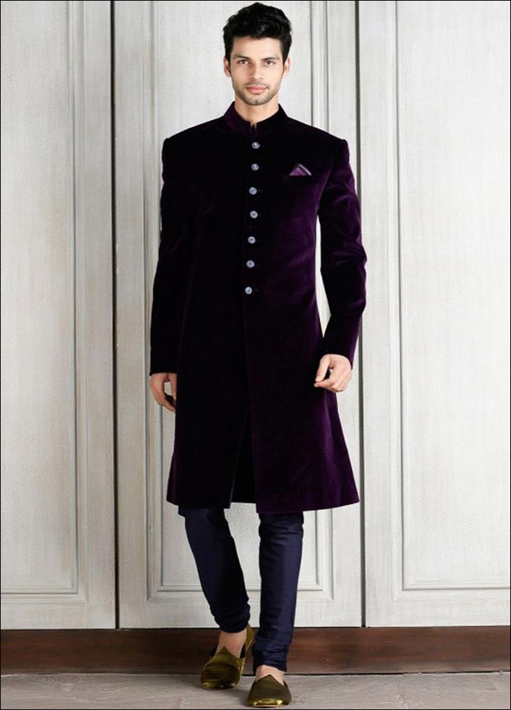 Indian Groom Dress Options - Purple Velvet Sherwani