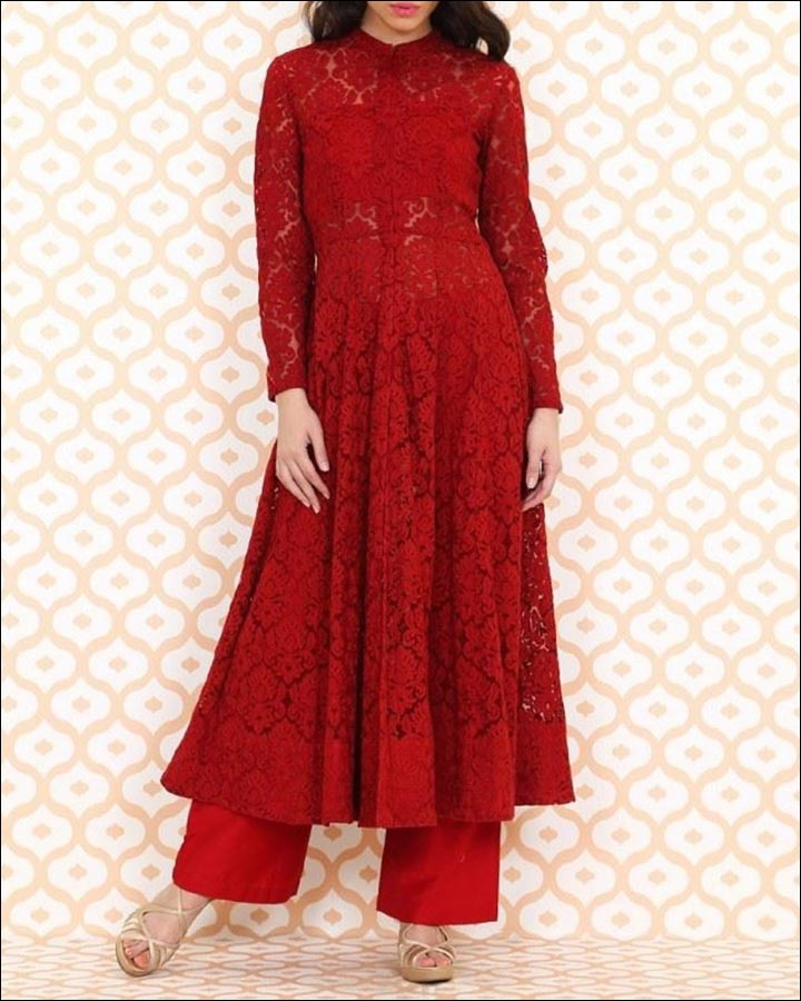 Bridal Suits - A Red Embroidered Anarkali With Pants By Anita Dongre