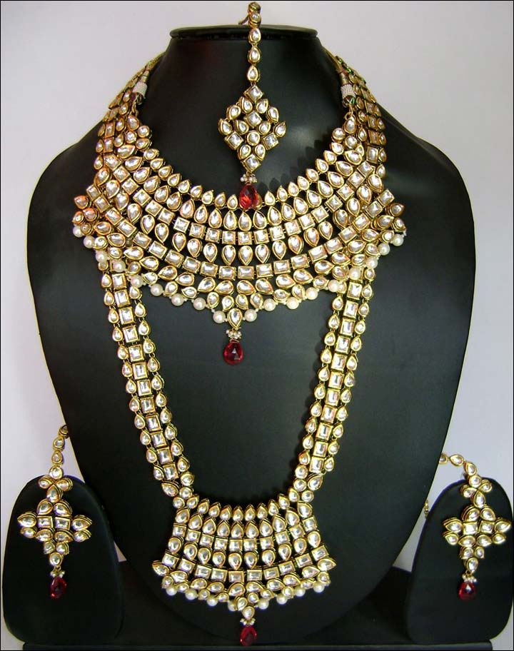 Wedding Necklace Designs - Red And Off White Kundan Studded Bridal Necklace Set